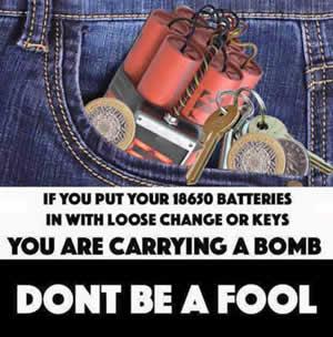 Batterijen los in broekzak gevaarlijk